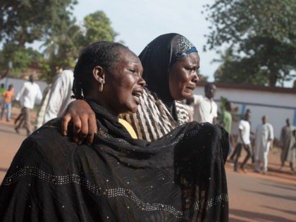 Women react as inhabitants of the mainly Muslim PK5 neighbourhood demonstrate in front of the headquarters of MINUSCA, the UN peacekeeping mission in the Central Africa Republic, in Bangui, on April 11, 2018. A United Nations peacekeeper was killed and eight others wounded April 10 in clashes with armed groups …