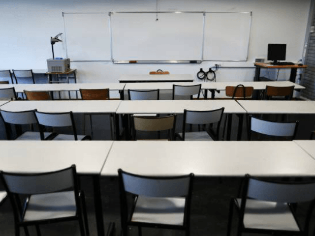 Picture of an empty classroom taken at the university of Mont-Saint-Aignan, near Rouen, northwestern France, on October 11, 2017. / AFP PHOTO / CHARLY TRIBALLEAU (Photo credit should read CHARLY TRIBALLEAU/AFP/Getty Images)