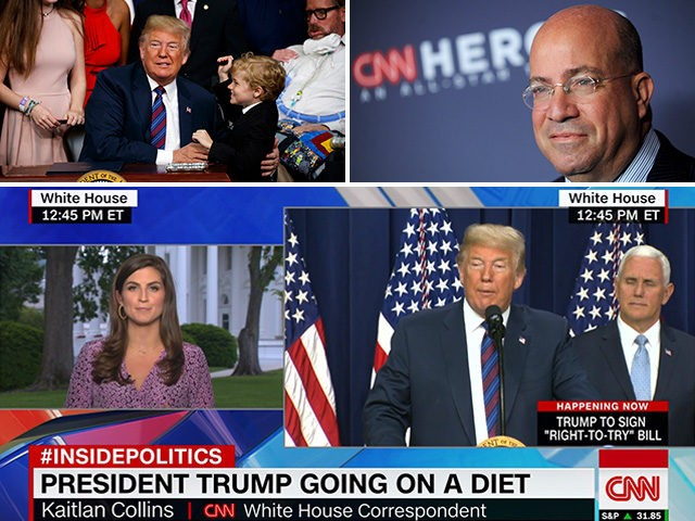 Donald Trump, Jeff Zucker, and a CNN chyron focusing on the president's diet right before the signing of a healthcare reform bill.