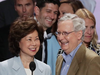 CLEVELAND, OH - JULY 17: Senate Majority Leader Mitch McConnell (R-KY) (R), along with his wife Elaine Chao, and U.S. Speaker of the House Paul Ryan (R-WI) (Back-C) speaks during a microphone test prior to the start of the Republican National Convention on July 17, 2016 at the Quicken Loans …