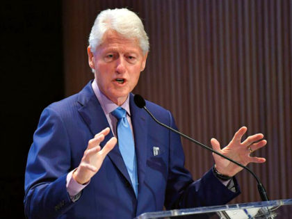 Former US President Bill Clinton speaks at the fifth annual Town & Country Philanthropy Summit on May 9, 2018 at Hearst Tower in New York City. (Photo by ANGELA WEISS / AFP) (Photo credit should read ANGELA WEISS/AFP/Getty Images)