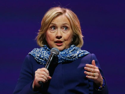 SYDNEY, AUSTRALIA - MAY 11: Hillary Clinton speaks during An Evening With Hillary Rodham Clinton at ICC Sydney on May 11, 2018 in Sydney, Australia. The former US Secretary of State and Democratic presidential candidate, who lost the 2016 US election to Donald Trump, is touring Australia and New Zealand …