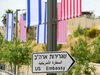 JERUSALEM, ISRAEL - MAY 8, 2018: A road sign indicating the direction of the US Embassy in Jerusalem. Sergey Orlov/TASS (Photo by Sergey Orlov\TASS via Getty Images)