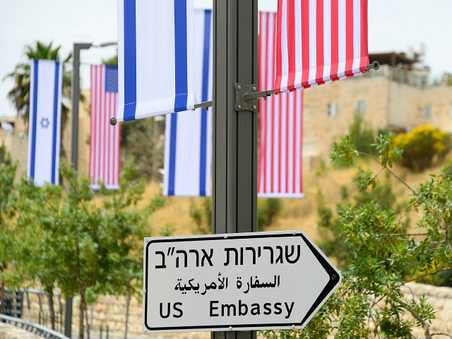 JERUSALEM ISRAEL- MAY 8 2018 A road sign indicating the direction of the US Embassy in Jerusalem. Sergey Orlov  TASS