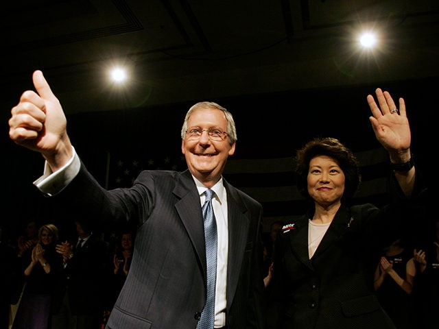 Sen. Mitch McConnell, R-Ky., and his wife, Labor Secretary Elaine Chao, wave to supporters as they celebrate his re-election win over Democratic challenger Bruce Lunsford in Louisville, Ky., Tuesday, Nov. 4, 2008. (AP Photo/Ed Reinke)