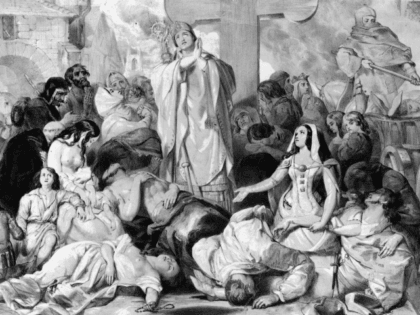 People praying for relief from the bubonic plague, circa 1350. Original Artwork: Designed by E Corbould, lithograph by F Howard. (Photo by Hulton Archive/Getty Images)