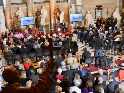 Statuary Hall in the nation's Capitol was filled with music and prayer at the 67th annual National Day of Prayer on Thursday. (Penny Starr/Breitbart News)