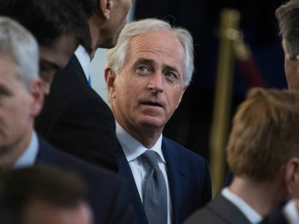 UNITED STATES - FEBRUARY 28: Sen. Bob Corker, R-Tenn., attends a ceremony in the Capitol Rotunda as the late Rev. Billy Graham lies in honor on February 28, 2018. (Photo By Tom Williams/CQ Roll Call)