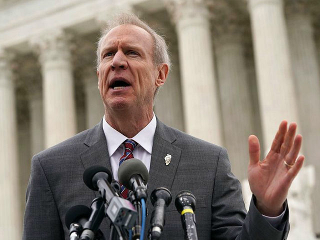 WASHINGTON, DC - FEBRUARY 26: Governor of Illinois Bruce Rauner speaks to members of the media in front of the U.S. Supreme Court after a hearing on February 26, 2018 in Washington, DC. The court is hearing the case, Janus v. AFSCME, to determine whether states violate their employees' First …