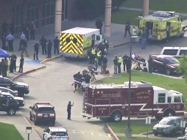 In this image taken from video emergency personnel and law enforcement officers respond to a high school near Houston after an active shooter was reported on campus, Friday, May 18, 2018, in Santa Fe, Texas. The Santa Fe school district issued an alert Friday morning saying Santa Fe High School …