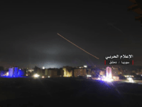 "This photo provided early Thursday, May 10, 2018, by the government-controlled Syrian Central Military Media, shows missiles rise into the sky as Israeli missiles hit air defense position and other military bases, in Damascus, Syria. The Israeli military on Thursday said it attacked ""dozens"" of Iranian targets in neighboring Syria …"