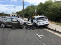 A Tesla car in autopilot mode smashed into a parked police vehicle in California