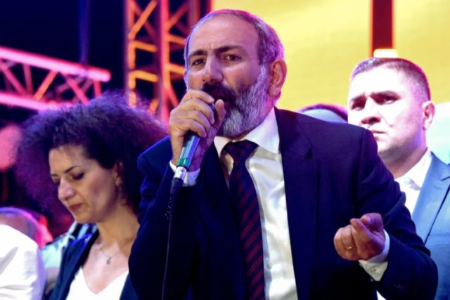 Armenian opposition leader Nikol Pashinyan addresses supporters, urging them to strike and block transport links on Wednesday to protest his failing to be elected prime minister