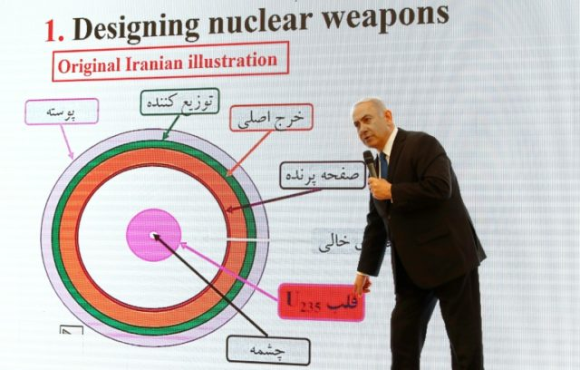 Israeli Prime Minister Benjamin Netanyahu delivers a speech on Iran's nuclear programme in Tel Aviv on April 30, 2018