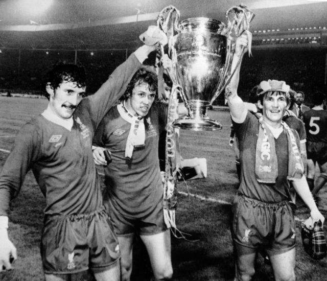Terry McDermott (L) with Phil Neal and Kenny Dalglish holding aloft the European Cup after Liverpool's defeat of Bruges in the 1978 final at Wembley