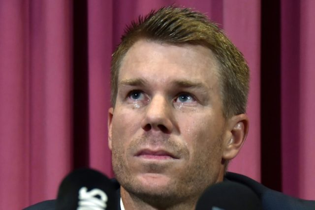 David Warner in tears as he addresses media after being banned for ball tampering