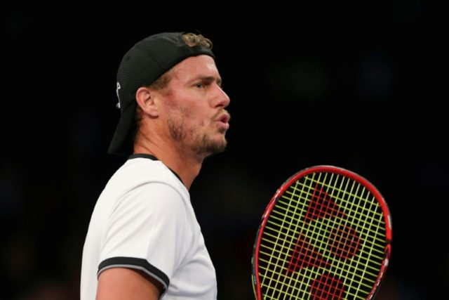 Lleyton Hewitt of The World team reacts while playing against Andy Roddick of The Americas team during their Men's Singles match during the BNP Paribas Showdown at Madison Square Garden on March 6, 2017 in New York City