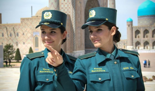 Identical twins Zukhra and Fatima Rakhmatova are members of a newly-formed Tourist Police deployed in the famed silk road city of Samarkand