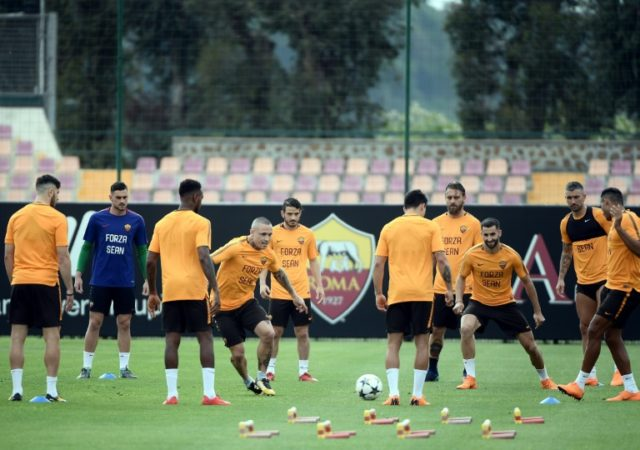 Roma players trained on Tuesday wearing shirts bearing the words 'Forza Sean'
