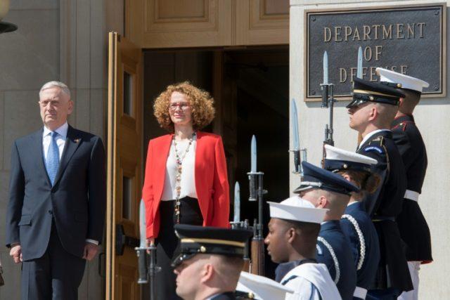 Defense Secretary Jim Mattis hosts an Honor Cordon for Macedonian Defence Minister Radmila Sekerinska at the Pentagon on May 1, 2018