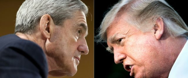 Special Counsel Robert Mueller, left, has submitted questions to the White House that indicate a focus on whether President Donald Trump tried to obstruct a probe into suspected Russian interference in the 2016 US election