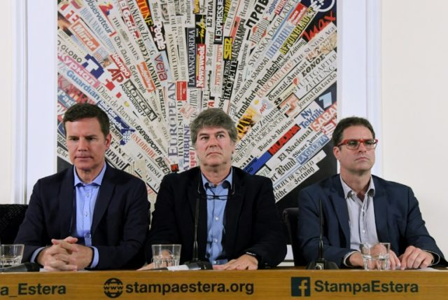 Chilean sexual abuse victims Jose Andres Murillo (R), James Hamilton (C) and Juan Carlos Cruz (L) branded a cardinal a 'criminal'