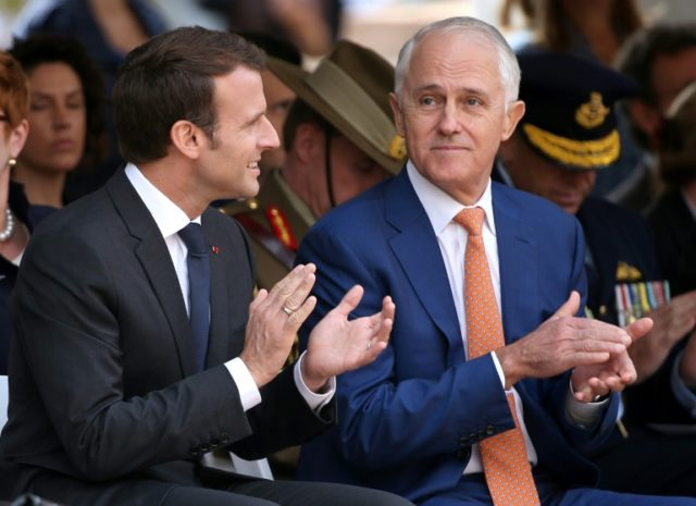 French President Emmanuel Macron (L) and Australian Prime Minister Malcolm Turnbull said no country could be allowed to dominate the Indo-Pacific
