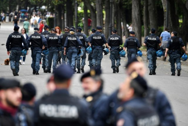 Italian police on patrol ahead of Liverpool's clash at Roma