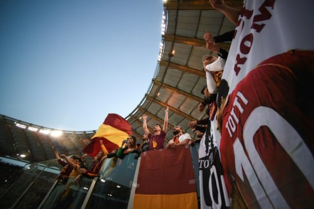 AS Roma fans prepare for the second leg of their Champions League semi-final against Liverpool with the Italian side trailing 5-2 from the first leg