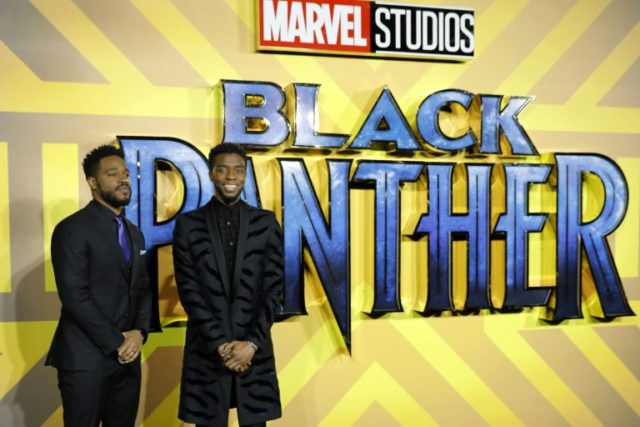"American director Ryan Coogler (L) and American actor Chadwick Boseman pose on arrival for the European Premiere of ""Black Panther"" in central London on February 8, 2018"