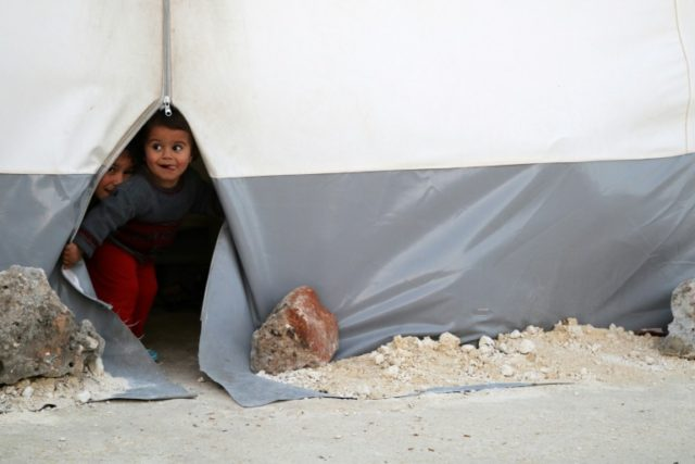 Syrian children displaced by the Syrian civil war
