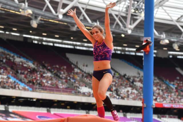 Greece's Katerina Stefanidi celebrates a clearance in the women's pole vault during the IAAF Diamond League Anniversary Games athletics meeting at the Queen Elizabeth Olympic Park stadium in Stratford, east London on July 9, 2017