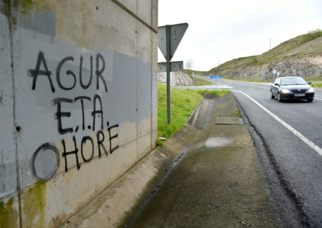 """""""ETA, Farewell and go with honour"""" reads graffiti near the Spanish Basque village of Agurain after the separatist group announced it was finally disbanding for good, a move welcomed in a region where nationalist sentiment still runs high"""