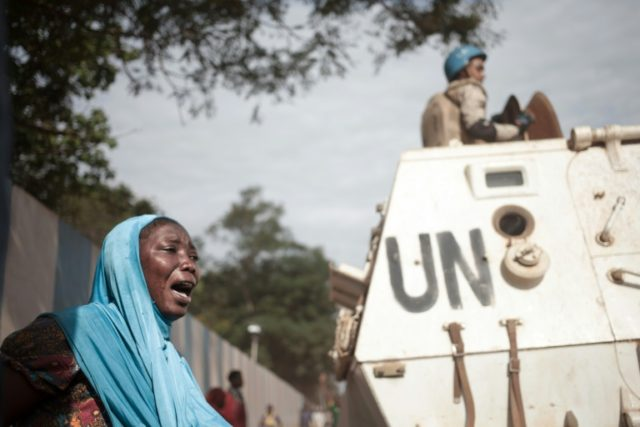 UN soldiers outside the headquarters in Bangui of the UN peacekeeping mission