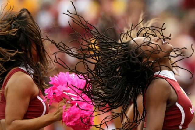 Washington Redskins cheerleaders dance at a game against the San Francisco 49ers at FedExField in Landover, Maryland