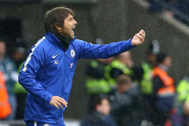 Chelsea's head coach Antonio Conte gestures on the touchline during the English Premier League football match against Swansea City April 28, 2018