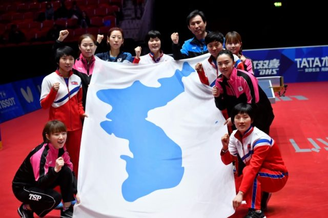 The joint South Korea and North Korea table tennis team pose with a flag of the Korea peninsula at the world championships