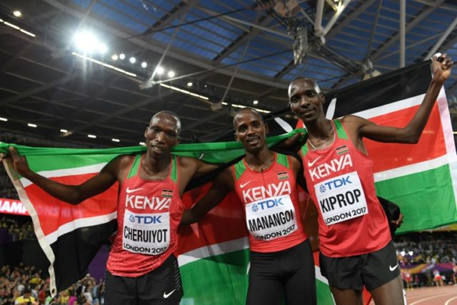 Asbel Kiprop, on the right, is the 2008 Olympic 1500 metres champion and has won three world titles