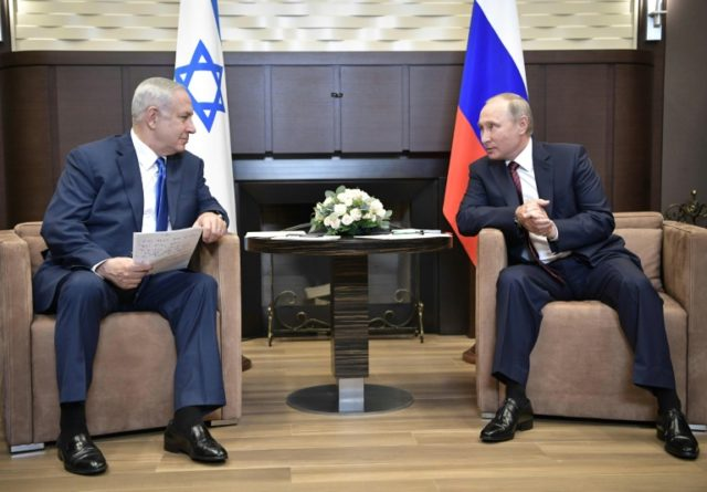 Russian President Vladimir Putin (R) meets with Israeli Prime Minister Benjamin Netanyahu at the Bocharov Ruchei state residence in Sochi on August 23, 2017