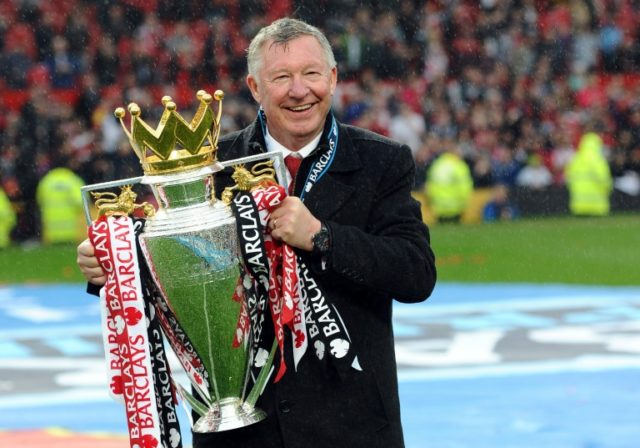 Alex Ferguson, celebrating his 13th Premier League title in 2013, is fighting for his life after emergency brain surgery