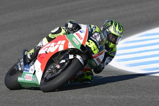 Cal Crutchlow set a course record on Saturday as he grabbed pole position for the Spanish Grand Prix