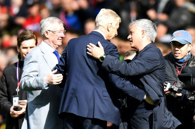 Arsene Wenger was greeted by Alex Ferguson on his final visit to Old Trafford as Arsenal manager last week, seen here also with current United boss Jose Mourinho