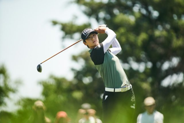 Sung Hyun Park of South Korea plays a tee shot at the third hole