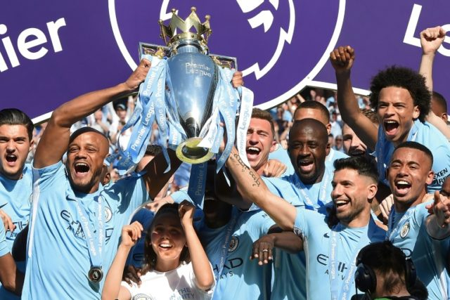 Manchester City lifted the Premier League trophy on Sunday