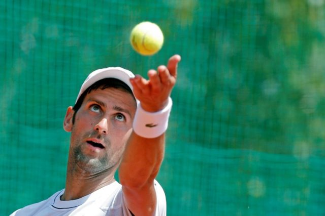 Novak Djokovic, pictured on May 2, 2018, beat Kei Nishikori in the first round of the Madrid Open