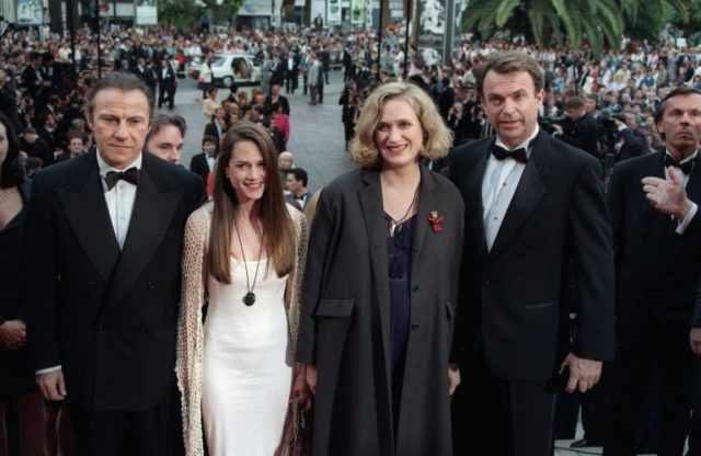 "New Zealand film director Jane Campion (2nd R) accompanied by (from L), Harvey Keitel, Holly Hunter, and Sam Neill, arrives, for the screening of her film ""The Piano"" at the 1993 Cannes festival"