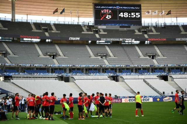 Les Herbiers players trained at the Stade de France on Monday, ahead of Tuesday's French Cup final against PSG