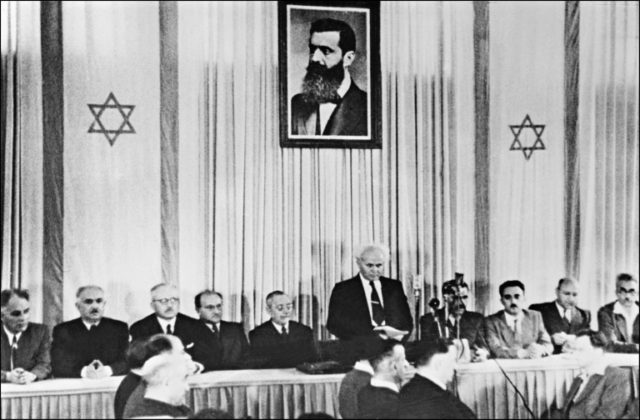 This picture from May 14, 1948 shows long-time Zionist leader David Ben-Gurion officially proclaiming the state of Israel