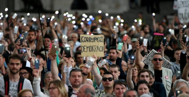 Around 20,000 protestors assembled outside parliament where speakers urged the rebuilding of opposition to Viktor Orban