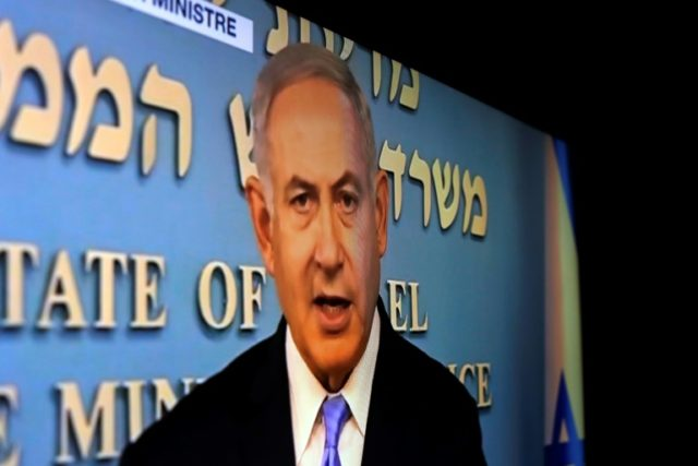 Israeli Prime Minister Benjamin Netanyahu delivers a televised speech on May 8, 2018 after US President Donald Trump announced his decision to withdraw from the Iranian nuclear deal